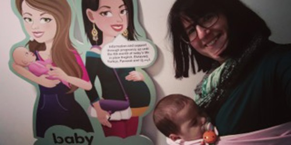 Veronika Christodoulides from Birth Forward with her baby and Baby Buddy avatars